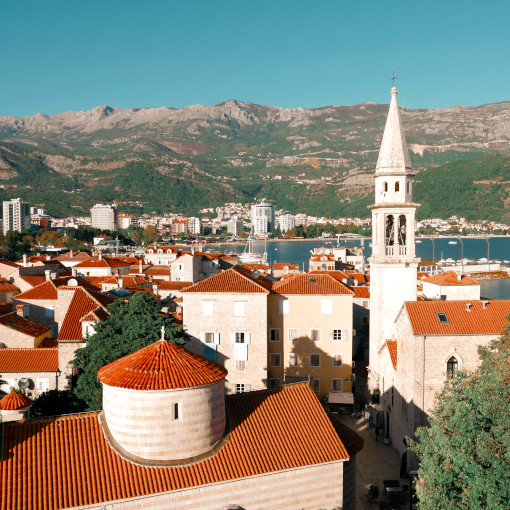Aerial view of the Budva rooftops