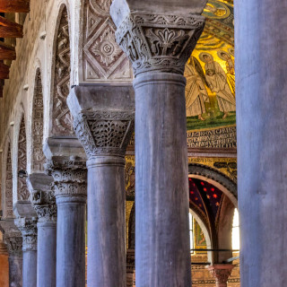 Decorated columns in the basilica