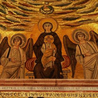 Mosaico mostrando Jesus e dois apóstolos