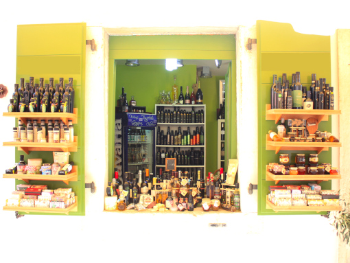 Green window with a lot of local products