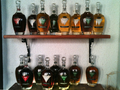 A shelf full of brandy bottles