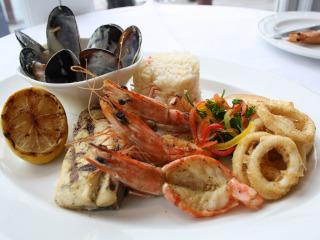 A plate with selection of seafood