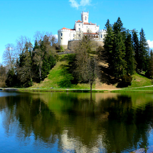 Castelo branco na colina em cima do lago