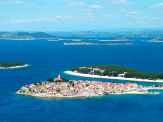 Aerial view of the Primošten's historic center situated on an island
